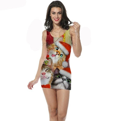 3-D Cat Christmas Tank Top