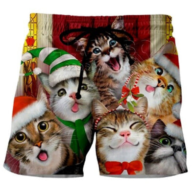 3-D Cat Christmas Shorts