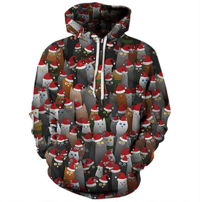 3-D Cat Cartoon Christmas Hoodie