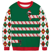 Long Hot Dog Christmas Ugly Sweater