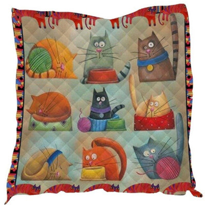 Funny Cartoon Cat Quilt