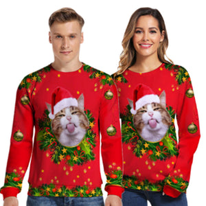 Funny Kitten Christmas Tongue 3-D Sweater