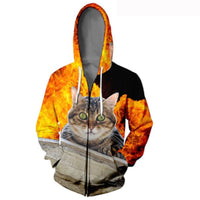 Fire Tiger Cat Zipper 3-D Hoodie