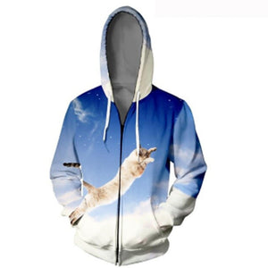 Funny Snow Jumping Cat Zipper 3-D Hoodie