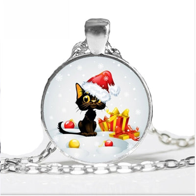 Christmas Black Cat Jewelry Pendant