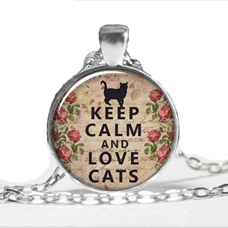 Keep Calm And Love Cats Pendant
