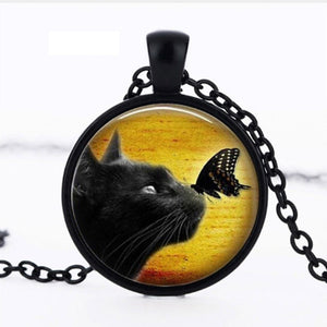Cute Cat And Butterfly Necklace