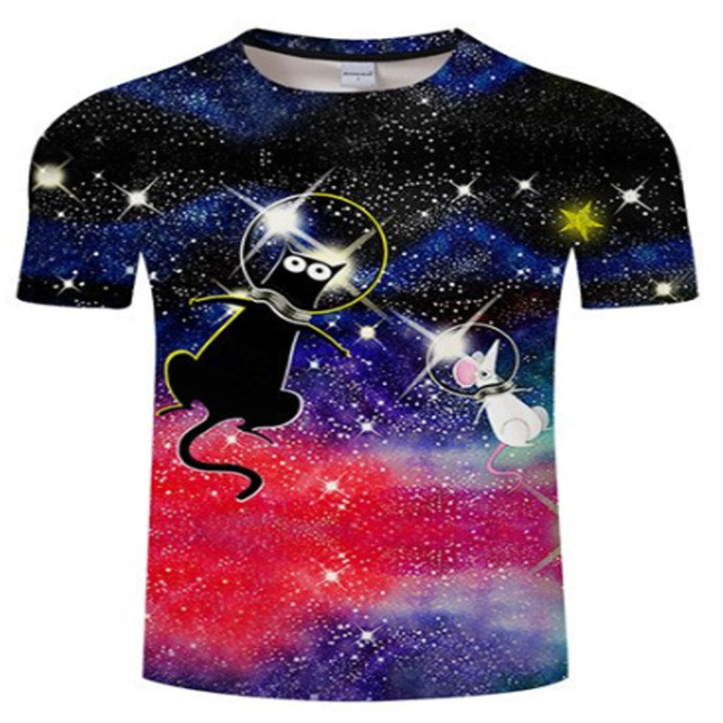 Funny Cartoon Space Kitty T Shirt