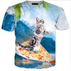 Bengal Cat Pizza Surf T Shirt