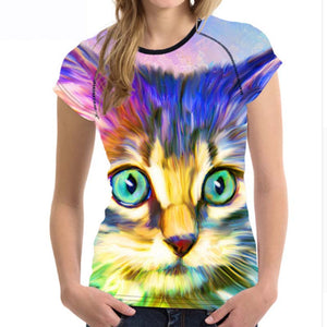 Acrylic Cat T - Shirts