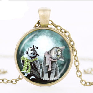 Cute Owl And Cat Necklace