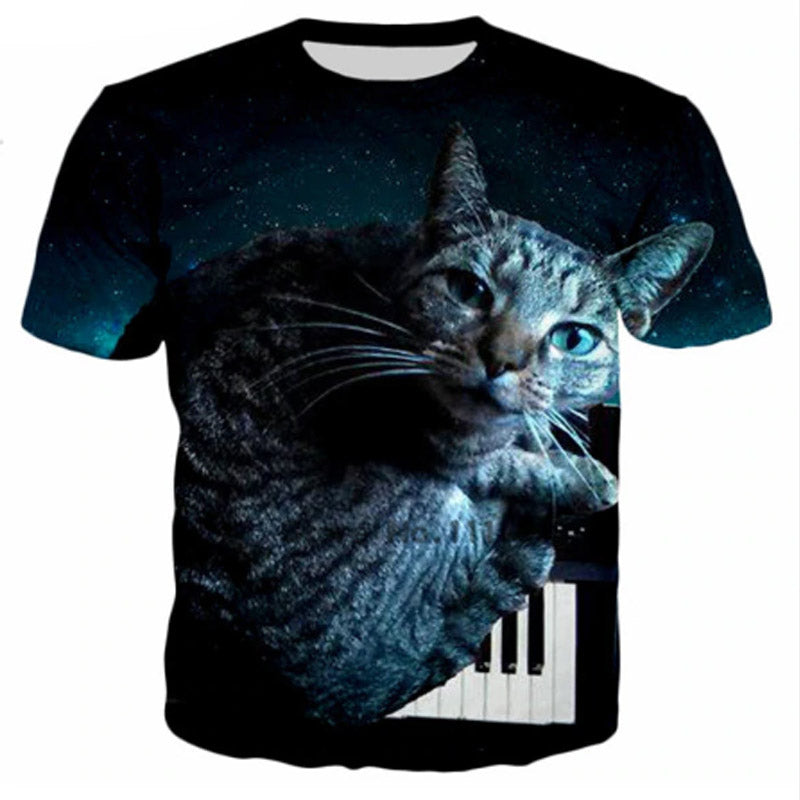 Sleepy Tiger Cat On Piano T Shirt