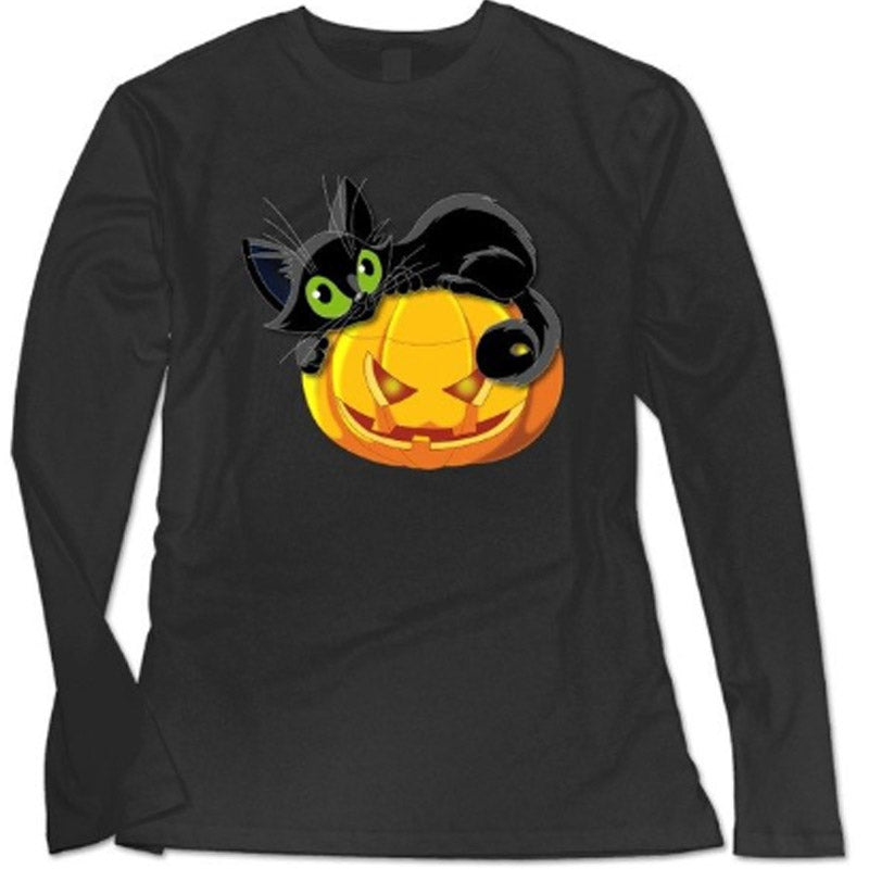 Black Cat Pumpkin T Shirt
