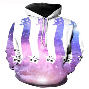 Purple And White Space Cat Hoodie