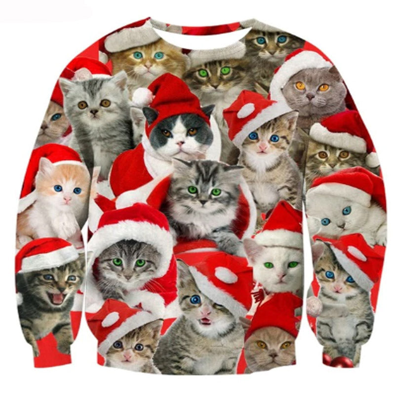 Adorable Multi Cat Christmas Sweater