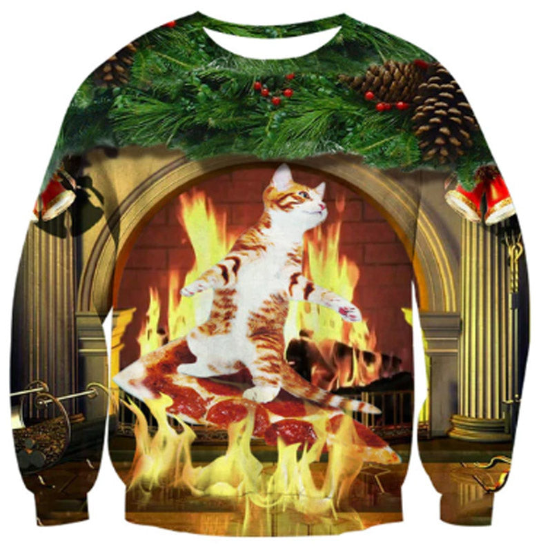 Cat By Fireplace Christmas Sweater
