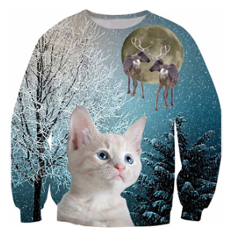Cute White Cat And Reindeer Sweater