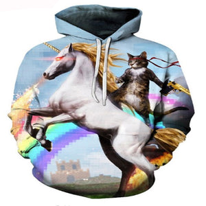 Unicorn Riding Cat Hoodie