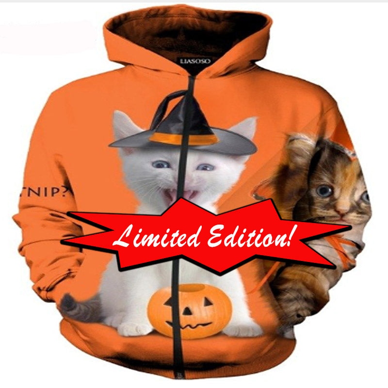 Limited Edition White Cat Pumpkin Hoodie