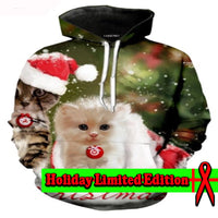 Beautiful White Kitten Christmas Hoodie