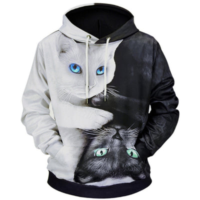 Cute Black And White Cat Hoodie