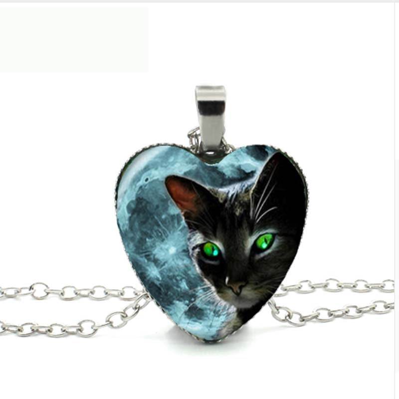 New Black Cat and Moon Heart Necklace