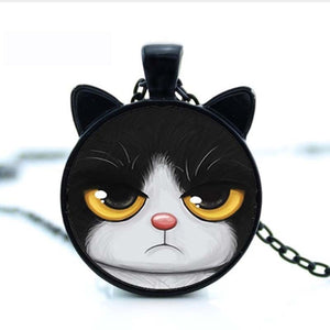 Tuxedo Grump Cat Necklace