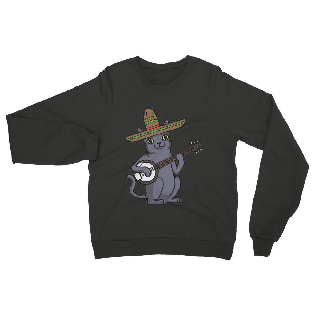 Russian Blue Sombrero Banjo Cat Womens Sweatshirt