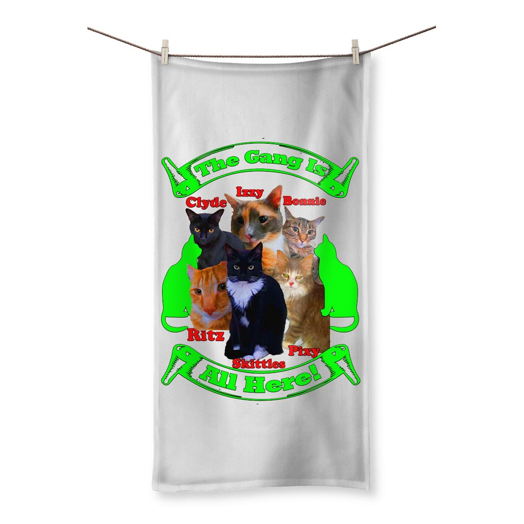 The Gang Is All Here 6 Cats Beach Towel