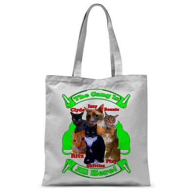 The Gang Is All Here 6 Cats Sublimation Tote Bag