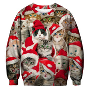 Multi Cuteness Overload Christmas Cat Sweater