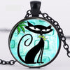 Black Cat Crystal Glass Pendant