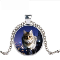 Handmade Silver Color Cat Glass Necklace For Women