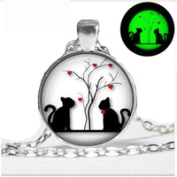 Glow in the Dark  Silhouette Cat Necklace