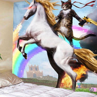 3-D Unicorn Rainbow Cat Tapestry