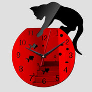 Acrylic Black Cat Mirror Wall Clock