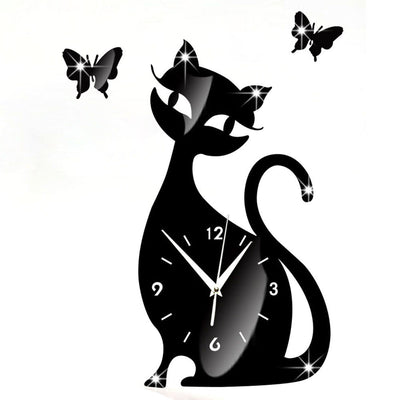 Cute Cat Butterfly Mirror Black Wall Clock