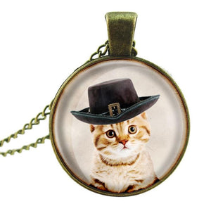 Women Cat Pendant Chain Necklace