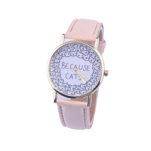 Cat Lovers Leather Wrist Watches