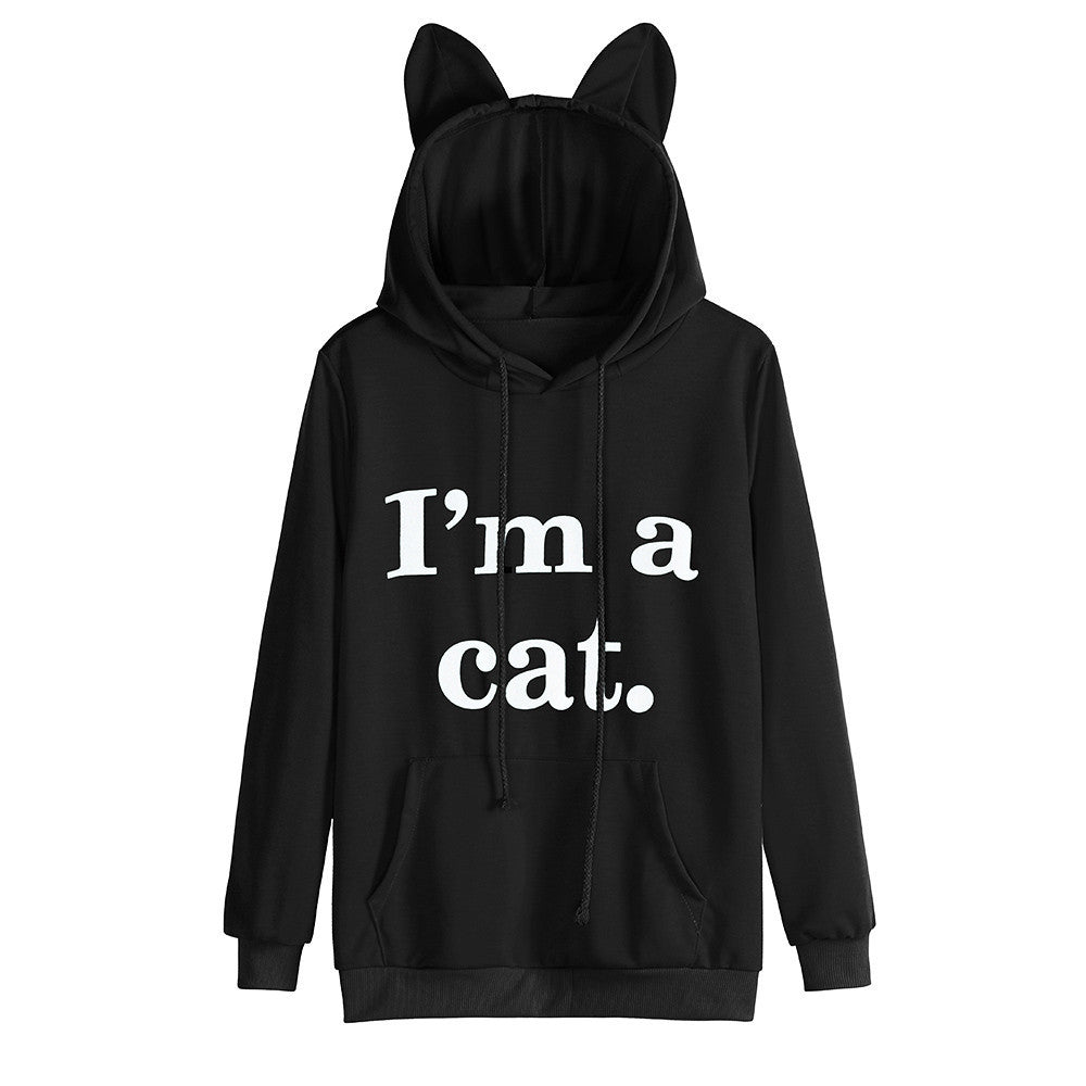 Women's Cat Long Sleeve Hoodie Sweatshirt