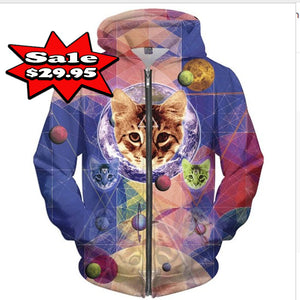 Geometry Cats 3d Print Novelty Hoodie