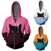 Black Cat Zipper 3-D Hoodie