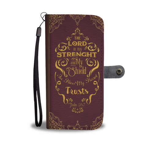 Bible Inspirational Wallet Case - Psalm 28:7 - Kickcap