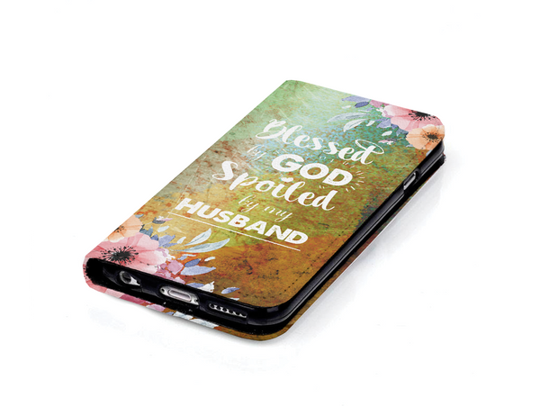 Christian Wallet Case - Blessed by God Spoiled by my Husband - Kickcap