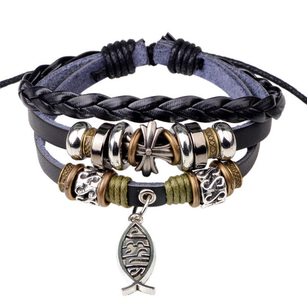 Leather Rope Jesus Charm Bracelet - Kickcap