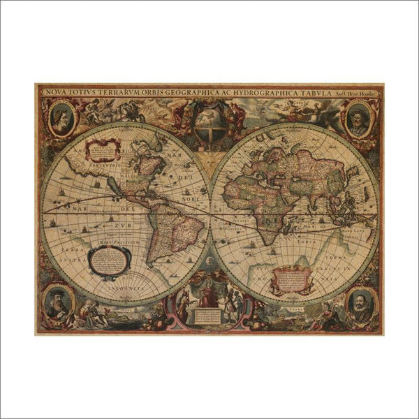 Ancient Nautical Charts Vintage Global Map Wall Decor - Kickcap
