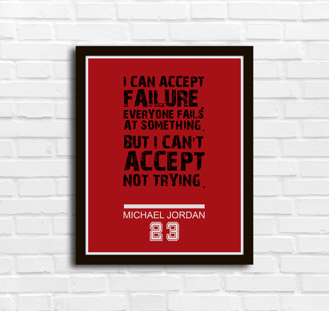 Michael Jordan I can accept failure Inspirational Poster - Kickcap