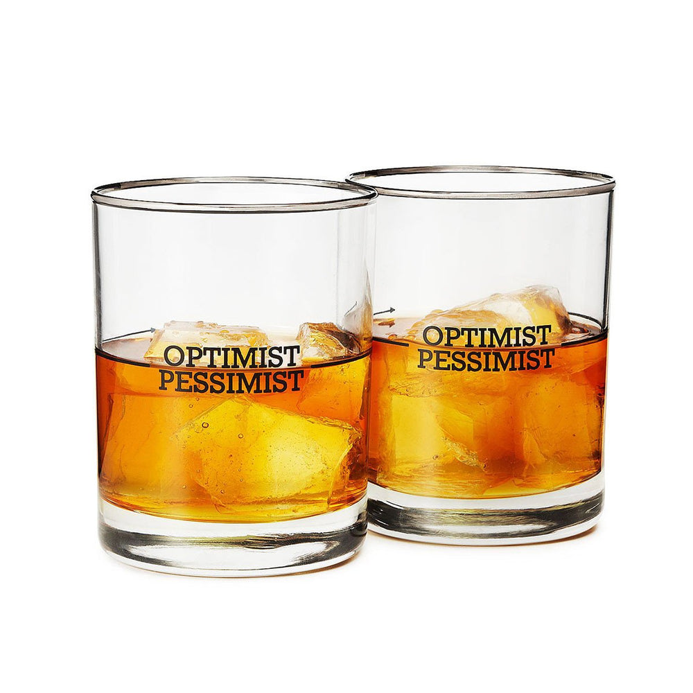 Optimist/Pessimist Glasses (Set of 2)