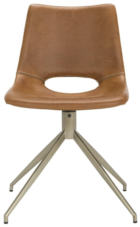 Set of 2 Danube Mid Century Modern Swivel Dining Chairs, Brown