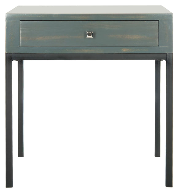 Adena End Table with Storage Drawer, Steel Teal